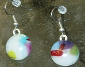 Fused glass earrings - White  with lavendar, turquoise, red, and green accents