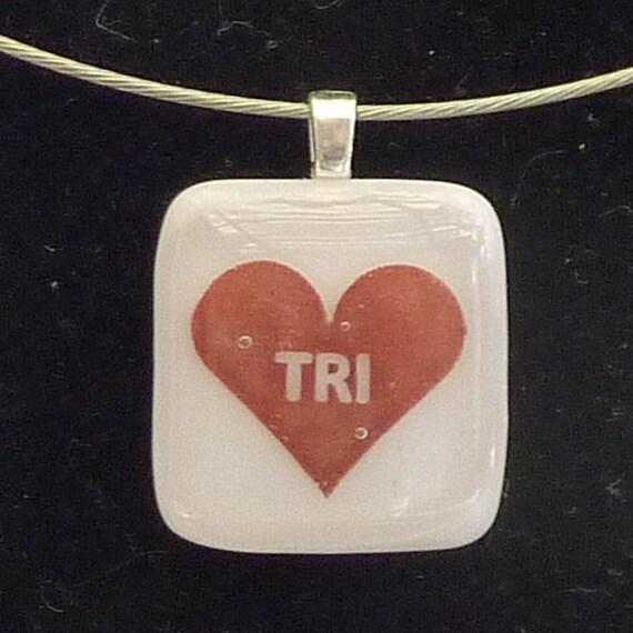 Love to tri fused glass pendant