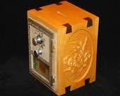 Beautiful Maple Antique Post Office Box Coin Bank with Custom Flower Carving