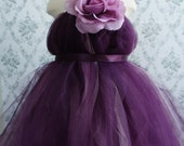Flower Girl Tutu Dress, Photo Prop, in Deep Purple,  with Delicate Oversized Purple Flower