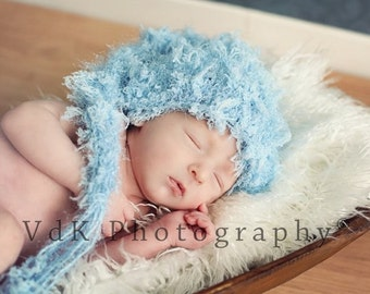 SALE Newborn Stocking Hat in Baby Blue, Perfect for Your Little Man or Photo Prop, Image by Stacey Van de Kemp