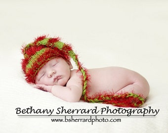 SALE  Green and Red Stocking Newborn Baby Hat Photo Prop, Perfect for your Holiday Season Pictures