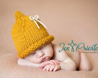 Knit Baby Hat, Newborn Hat, Baby Photo Prop, Newborn Pixie Hat, Bow Hat, Photography Prop