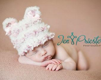 SALE Baby Hat, Newborn Baby Hat, Knit Baby hat, Newborn Photo Prop, Sweet Pink Baby Bear Hat, Girl Beanie Hat, Animal Hat