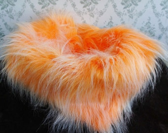 Frosted Faux Fur Nest Photography Prop, Bright Orange, Extra Long Pile, Newborn Baby Toddler Pictures, Size 23 x 20