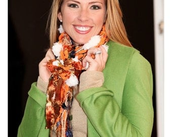 All Fringe Scarf, Knotted scarf, Fall Colors Orange, Brown and White