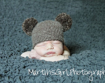 Baby Hat, Newborn Baby Hat, Pom Pom Knit Baby Hat, Baby Photo Prop, Bear Hat, Newborn Knit Hat, Photography Prop
