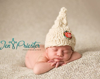 SALE Baby Hat, Newborn Hat, Elf Hat, Christmas Baby Hat, Knit Newborn Hat, Baby Photo Prop, White Hat