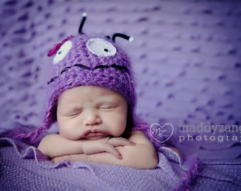 Baby Hat, Monster hat, Super Cute Little Monster Newborn Baby Hat, Photography Prop 12 mo