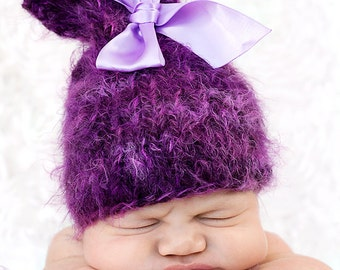 Baby Hat, Baby Photo Prop, NewBorn Baby Girl Hat, Newborn Photo Prop, Lnit Photo Prop, Purple Hat, Bow hat