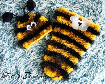 Baby Hat and Cocoon Set, Baby Photo Prop, Newborn Photo prop, Bumble Bee Newborn Cocoon and Hat Set, Bee Hat, Newborn photo Prop,