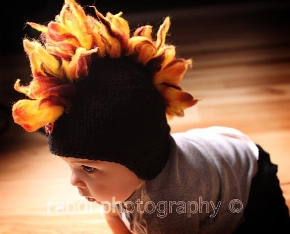 Baby Hat, Mohawk Hat, Newborn Photo Prop, knit newborn hat, Knit Baby Hat Photo Prop, Black with Orange and Red Flames Skull Decal