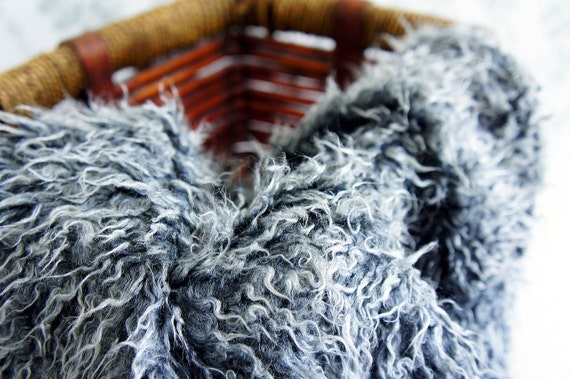 SALE Mongolian Frosted Faux Fur Nest Photography Prop in Beautiful Gray Color perfect for Newborn Baby Toddler Pictures, Size 30 x 20
