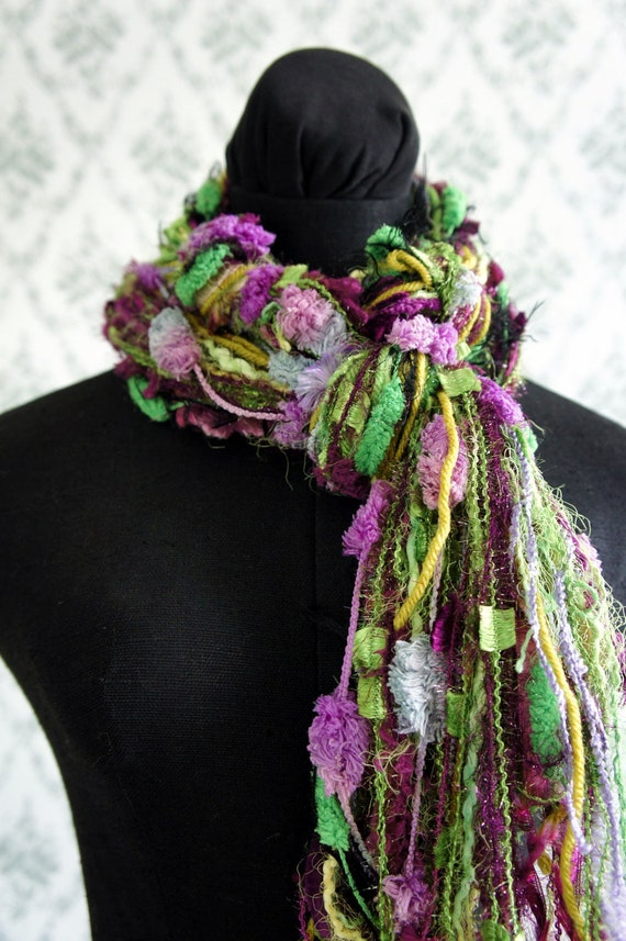 Fringe Scarf, Knotted scarf, Green and Purple Yarns