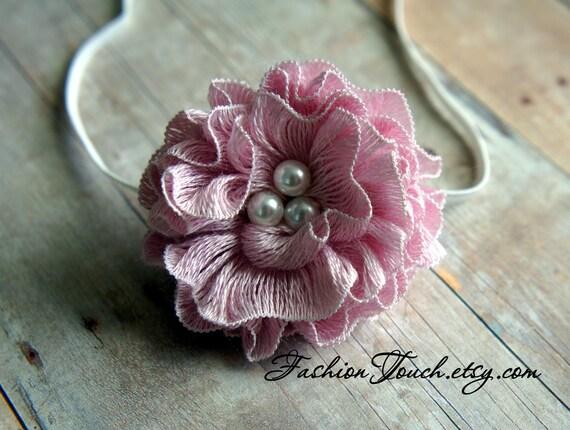 Pearl Tieback, Ruffle Hair Flower, Newborn Photo Prop, Beaded Tieback, Pink Flower Headband RTS