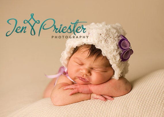 Baby Girl Bonnete, Knit Baby Hat, Newborn Photo Prop, Photography Prop, Round back Bonnet, Flower Hat