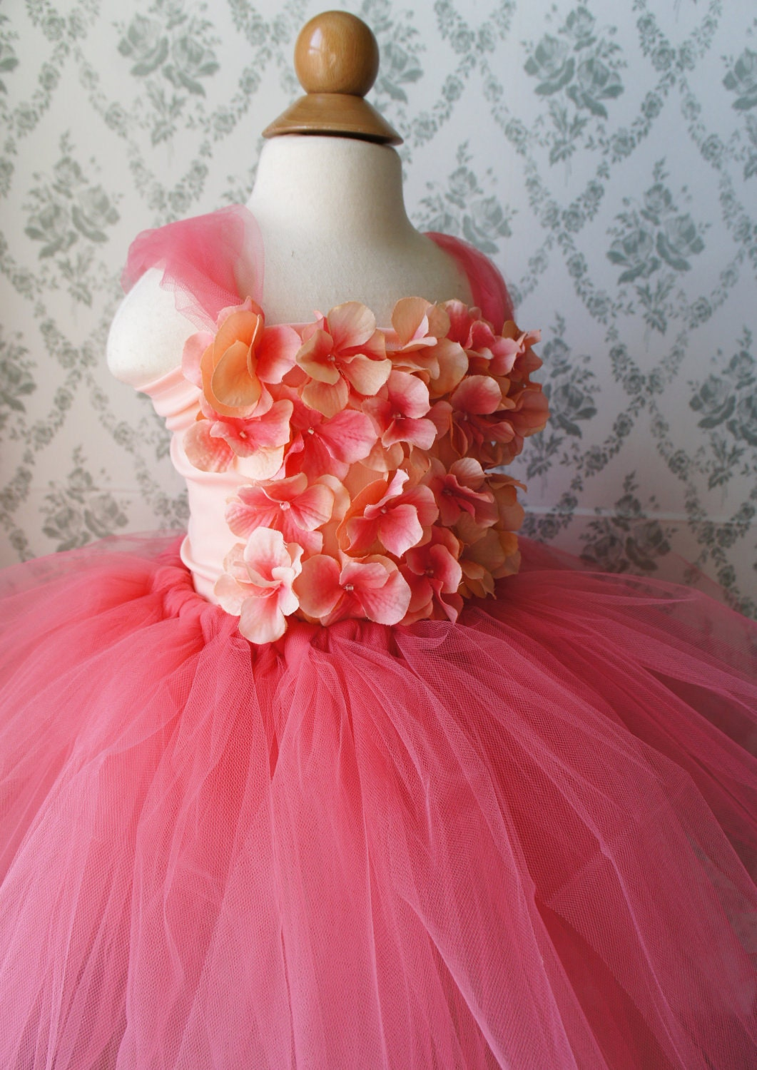 Flower girl dress Blush Pink tutu dress flower top by FashionTouch