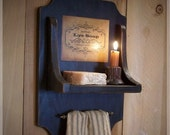 Primitive Colonial Soap and Towel Holder for the Bath / Old Label / Cabinet Handle / Lamp Black / Color Choice