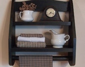 Primitive Bathroom Step Back Towel Rack Wooden Shelf Farmhouse Kitchen or Bathroom Storage / Lamp Black / Color Choice