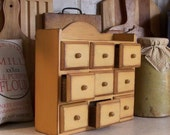 Vintage Wooden Apothecary Spice Chest with Drawers / Mustard / Primitive Pantry Storage