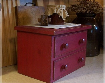 Primitive Toaster Cover Apothecary Two Drawer Style Kitchen Storage for 2 Slice Toaster / Barn Red / Color Choice / Farmhouse Favorite