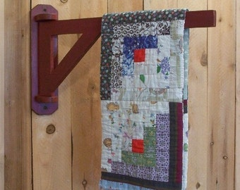 Primitive Farmhouse Blanket Crane Quilt or Linen Rack / Swing arm Design / Color Choice