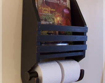 Primitive Magazine Rack Toilet Paper Holder Farmhouse Storage by Sawdusty / Color Choice
