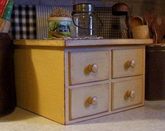 Primitive 4 Drawer Toaster Cover Apothecary Style Kitchen Storage for 4 Slice Square Toaster Farmhouse Tan / Color Choice