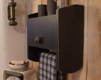 Primitive Bathroom Cabinet Towel Rack Toilet Paper Storage / Original Design / Color Choice
