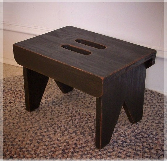 Farmhouse Primitive Step Stool Cut Out Handles Shaker