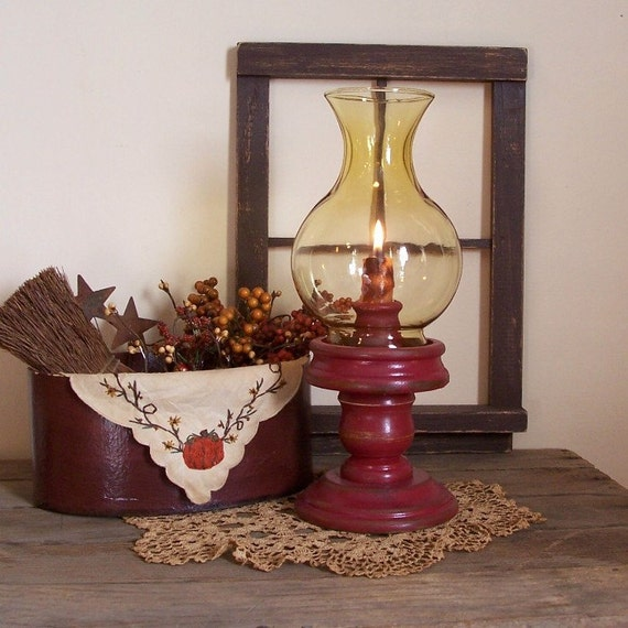 Vintage Colonial Hurricane Candle Lamp / Amber Glass Globe / Wooden Base Barn Red / New Candle / Autumn Decor