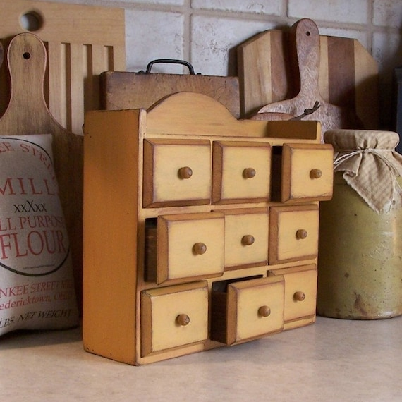Vintage Wooden Apothecary Spice Chest With Drawers Mustard
