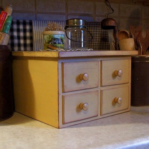 Primitive 4 Drawer Toaster Cover Apothecary Style Kitchen Storage for 4 Slice Square Toaster / Farmhouse Tan / Color Choice