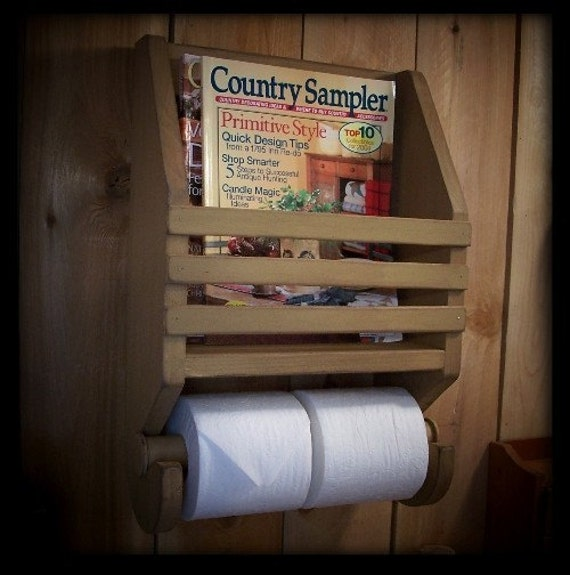 Primitive Farmhouse Magazine Rack Toilet Paper Holder For