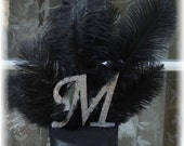 WHITE Ostrich Feather Crystal G Monogram  cake topper on Reserve for Candace