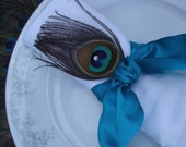 50 Elegant Satin Peacock napkin rings in Teal and Gold for Abbie