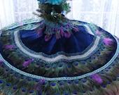"CUSTOM 48"" Peacock Feather Christmas Tree Skirt, Wall Hanging or Tablecover"