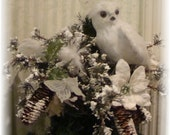 Snowy Owl's Rest  Small Christmas tree topper
