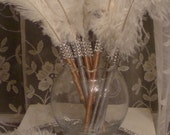 1 Sample Ivory Feather Pen Favor with Bling