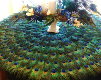 Custom 42 inch Peacock Feather Mat