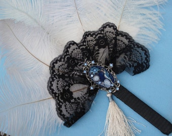 Vintage Inspired Ostrich Feather Bridesmaid Fan Bouquet in IVORY, BLACK and BLUE - Custom Created