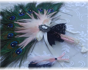 Marie Antoinette Peacock Feather Bridesmaid Flower Girl Fan Bouquet with Pink Accents