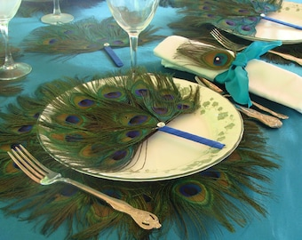 25 Peacock Feather Program Favor Fans in your choice of handle color