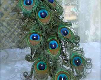 "Exquisite Curled Feather Peacock Cake Topper Christmas Decoration with Swarovski Crystals -16""-48"""