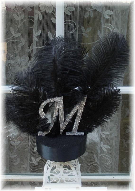 Ostrich Feather Crystal Monogram Cake Topper On Reserve For