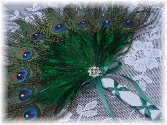 DIY Peacock Feather Fan kit with Kelly Green and Horizon Accents and Trim for Alicia 9-29-2012