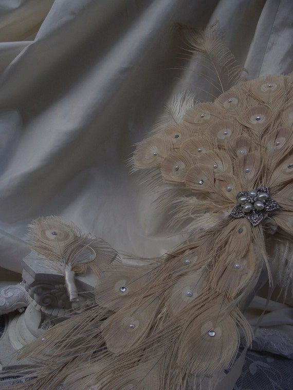 Peacock Feather Cascade Bouquet in Ivory or Natural with Crystals and Pearls