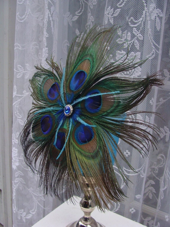 Items similar to peacock feather flower decorations with