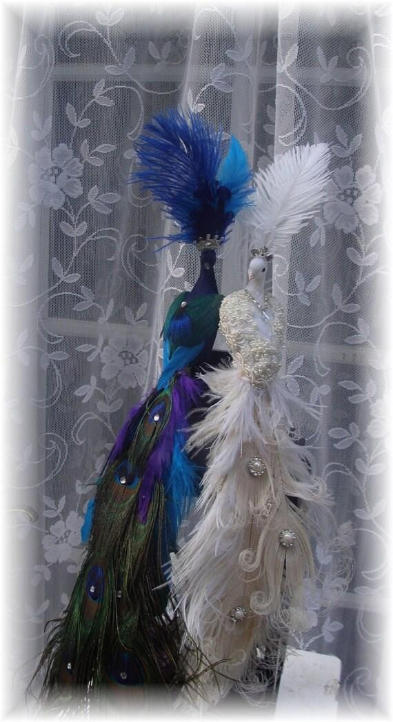 RUSH CUSTOM Exquisite Peacock Lovebird Cake Topper for Teresa 8-4-2012