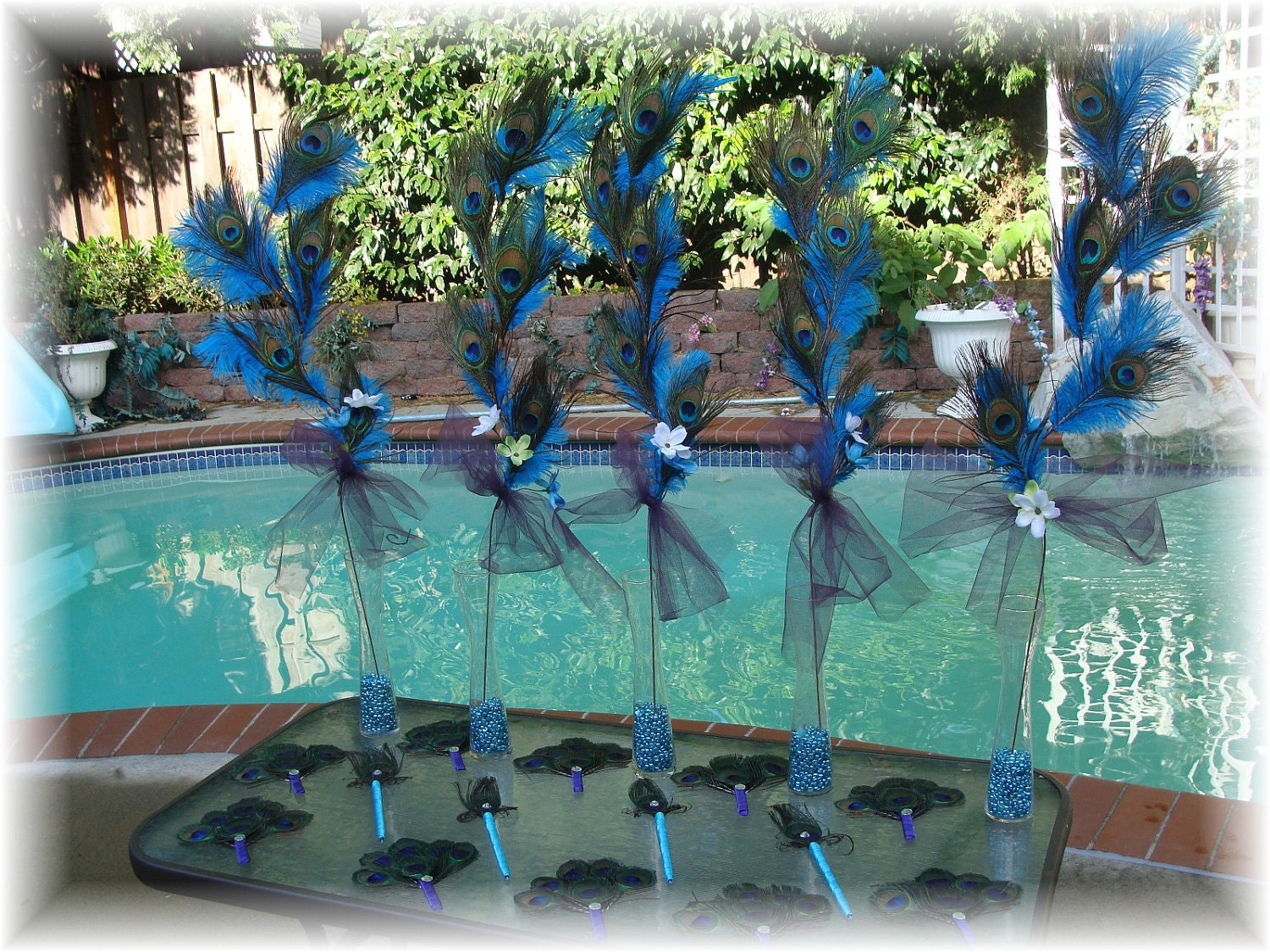 Items similar to 10 dual use peacock and ostrich feather centerpieces and chair or pew - Peacock home decor wholesale photos ...